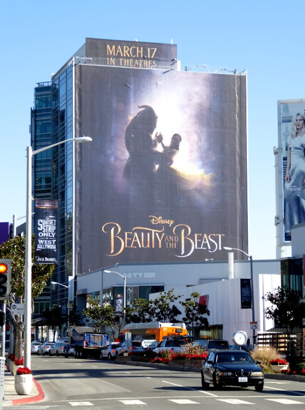 Giant Beauty and the Beast 2017 movie billboard Sunset Strip