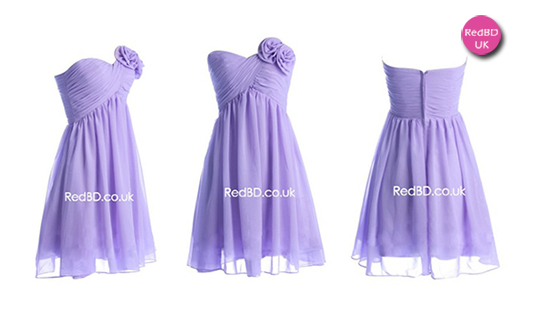 Chiffon Strapless Sweetheart Ruched Bodice with Flowers Details Empire Short Bridesmaid Dress