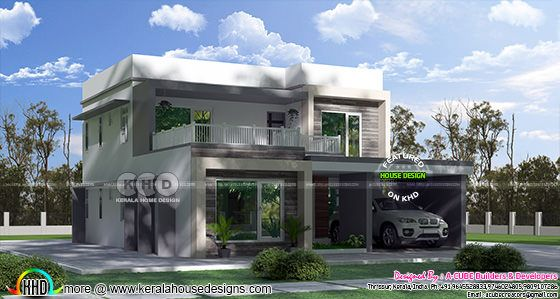 2536 square feet 3 bedroom flat roof home design