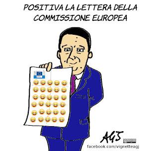 renzi, lettera UE, commissione europea, manovra economica, legge finanziaria, satira, vignetta