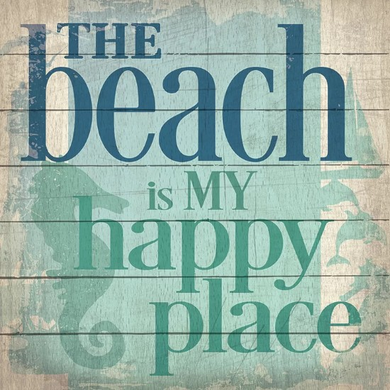 Pallet Wood Art with Beach Happy Place Quote
