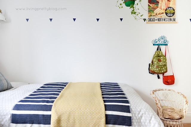 Wall Decals, Hooks & Rattan Chair - Blue Red Mint Kids Room - Shared Kids Room Reveal - One Room Challenge