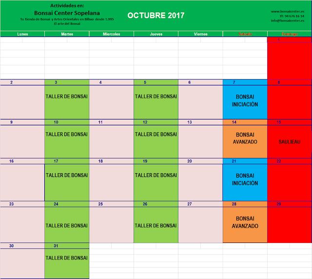 CALENDARIO CURSOS DE BONSAI  Y TALLERES 2017-2018