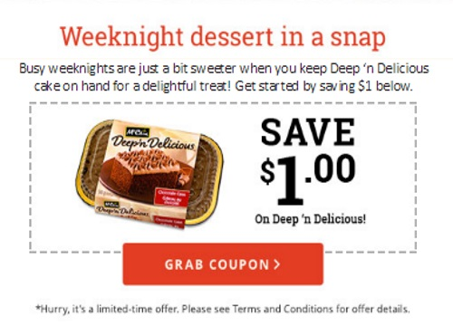 McCain $1 off Smiles Fries & $1 off Deep 'n Delicious Cake Coupons