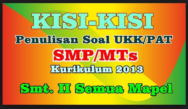 KISI-KISI PENULISAN SOAL UKK/PAT SMP-MTs KELAS VII DAN VIII SMT. GENAP KURIKULUM 2013