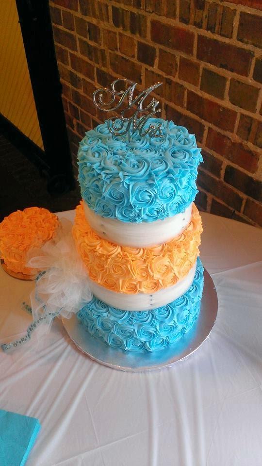 Turquoise Orange Wedding Cake