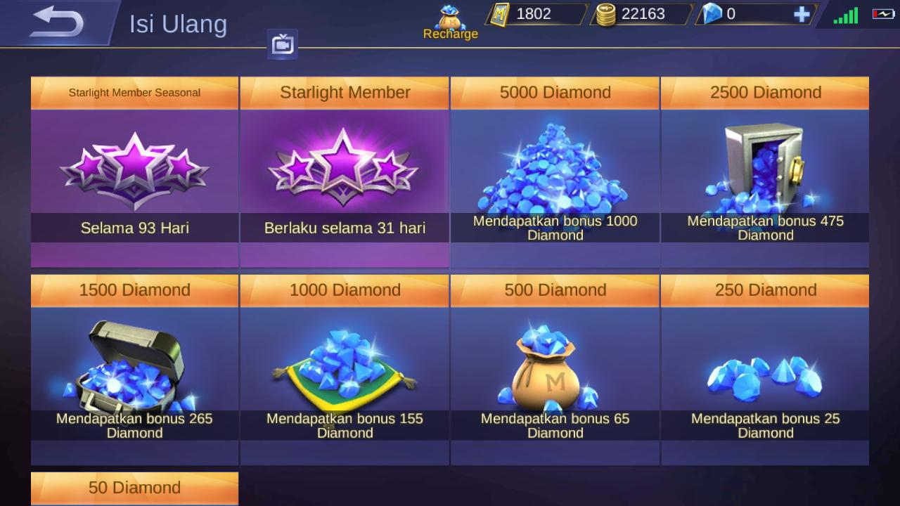 Penjualan Diamond di In-Game Mobile Legends