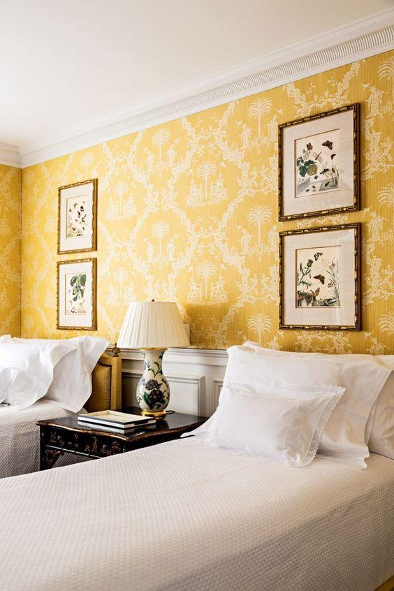 Such a pretty wallpaper in this bedroom- design addict mom