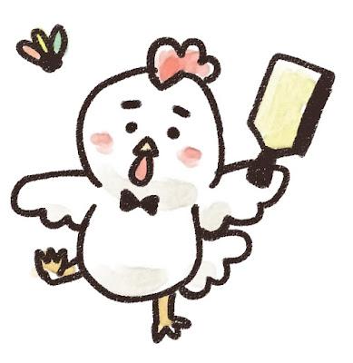 羽つきをするニワトリのイラスト(酉年)