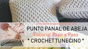 Punto Panal de Abeja Crochet Tunecino / Tutorial Paso a Paso