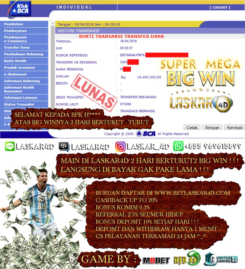 MANTUL Main di Laskar4D 2 Hari Berturut BIG WIN Langsung di Bayar Lunas