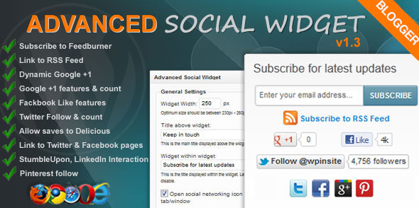 Best Advanced Social Subscription Widget for Blogger