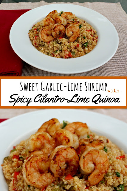Garlicky shrimp with a sweet twist over a spicy cilantro lime quinoa. Quick and easy #weeknight meal #shrimp #quinoa