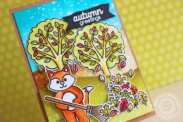 Sunny Studio Stamps: Fall Leaves Slider Card by Eloise Blue (using Woodsy Creatures,Harvest Happiness, Halloween Cuties, Summer Picnic & Backyard Bugs)