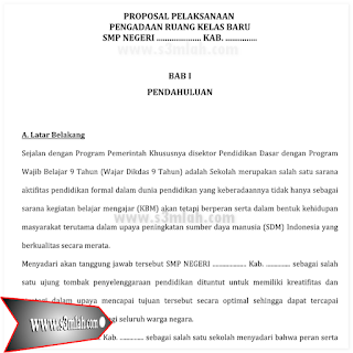 Download Contoh Proposal Bantuan Pengadaan Ruang Kelas Baru (RKB) 2016 Beserta File Lengkap Lainnya