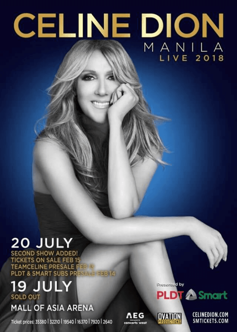 PLDT is giving away tickets for Celine Dion's PH concert