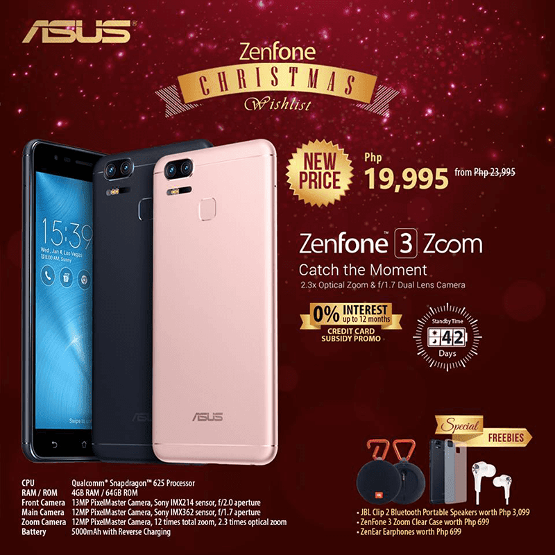 Sale Alert: ASUS ZenFone 3 Zoom w/ freebies is now priced at just PHP 19,995