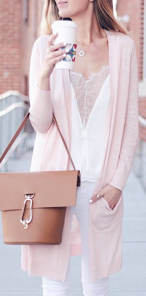 pastel outfit idea: top + bag + pants