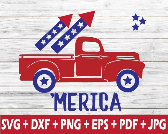 Fourth Of July Truck Svg For Cameo Cut Machine
