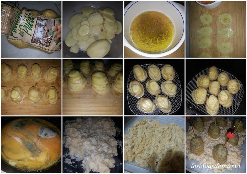 Torres de patatas con huevo revuelto a la trufa