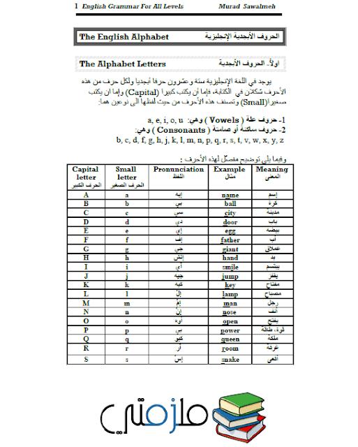 كتاب قواعد حروف اللغة الانجليزية كاملة لجميع المستويات