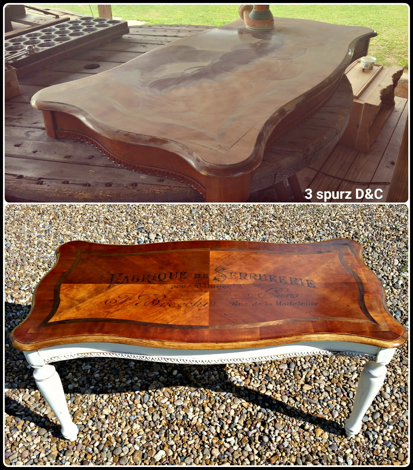 3 Spurz Dandc Repurposed Refurbished Creations Refurbished Coffee Table With Heat Transfer Image