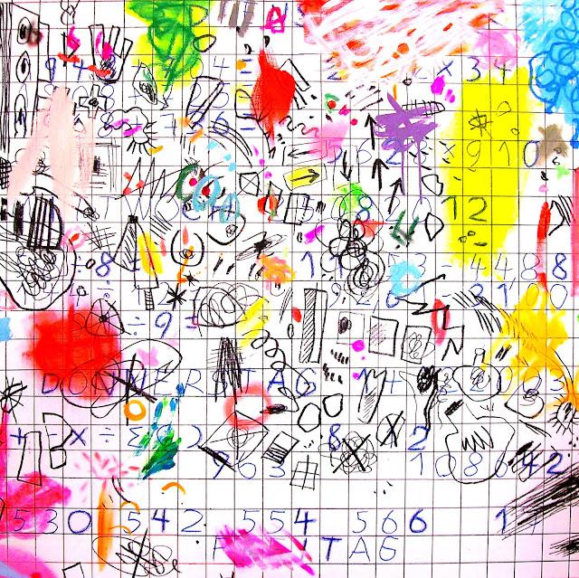 Acrylmalerei Zeichen auf weißem Grund, Kunstmalerei