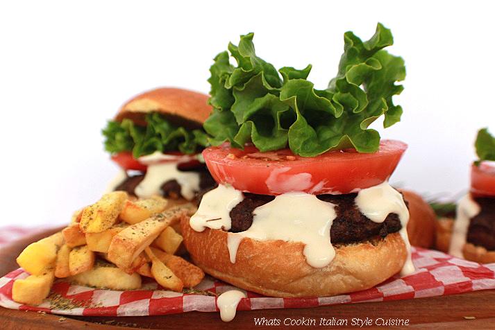 Provolone Alfredo Burgers