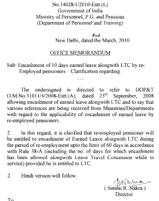 Encashment of earned leave alongwith ltc dopt orders on 2392008 spiritdancerdesigns Choice Image