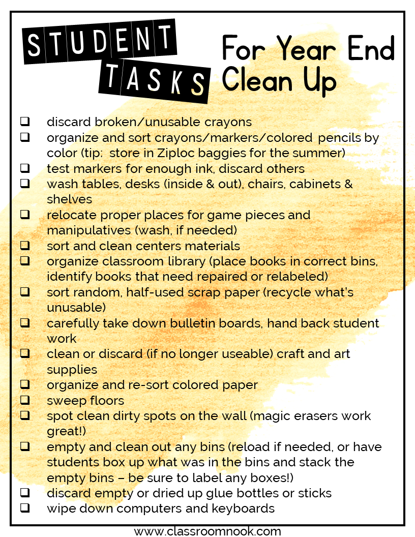 End of Year Clean-Up Tasks Your Students Can Help You With