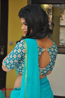 Telugu Actress Alekhya Stills in Green Saree at Swachh Hyderabad Cricket Press Meet  0021.JPG