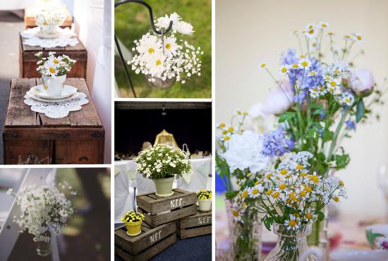 daisies wedding decor, wedding flowers