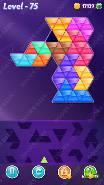 Block! Triangle Puzzle 12 Mania Level 75 Solution, Cheats, Walkthrough for Android, iPhone, iPad and iPod