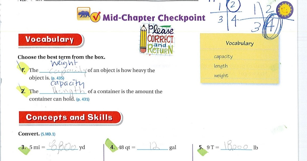M.I.A.: Go Math!: Chapter 10 Mid-Chapter Checkpoint