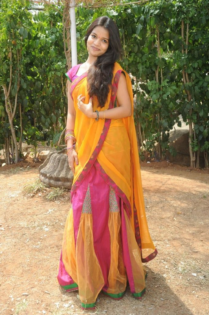 Bhavya New Telugu Actress Looking Cute In Half Saree