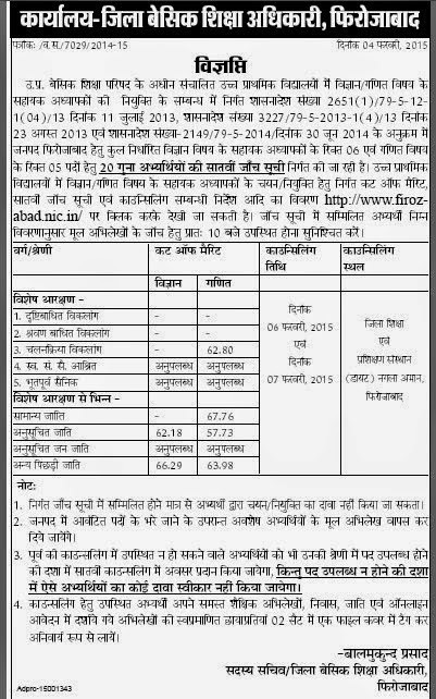 firozabad 7th cut off