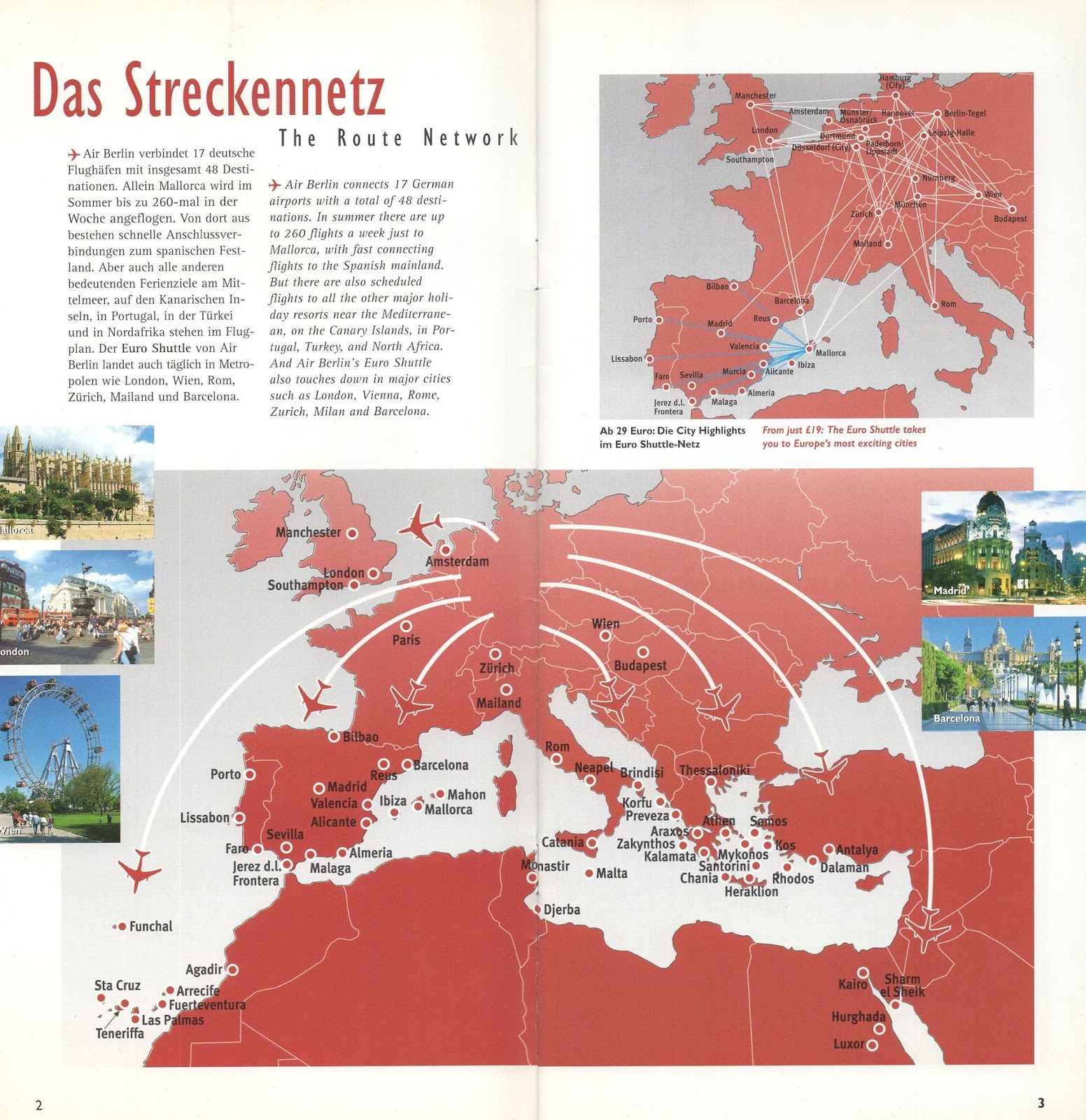 a brochure introducing what once was germany s second largest airline with a short introduction to its history and also some nice route maps