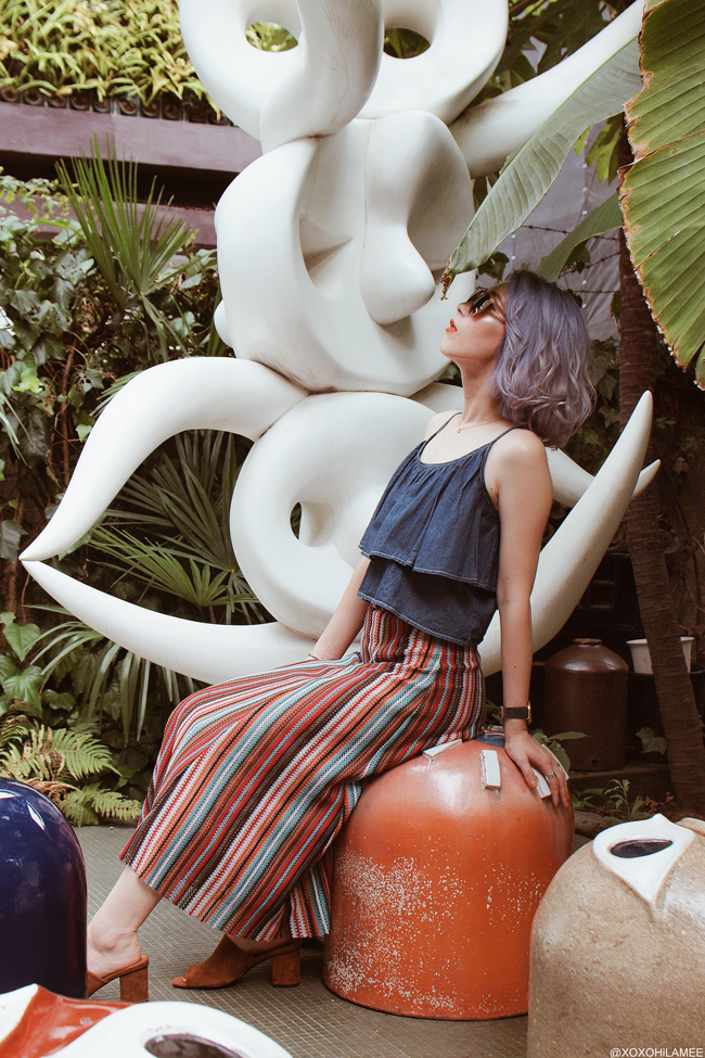 Japanese Fashion Blogger,Mizuho K,20180727OOTD,mystic=frill cami / ZARA=multi color striped knit skirt / Newchic=brown mules / zeroUV=brown sunglasses / 3SOINS=mesh bag / brown riangle bag=Rakuten / Blue watch=Andreas Ingeman Taro Okamoto museum