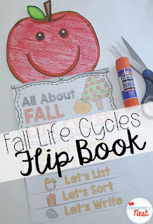 apple life cycle reading flip book- September Activities and primary resources plus three FREEBIES- fun ELA, math, and social studies activities for students during the month of September