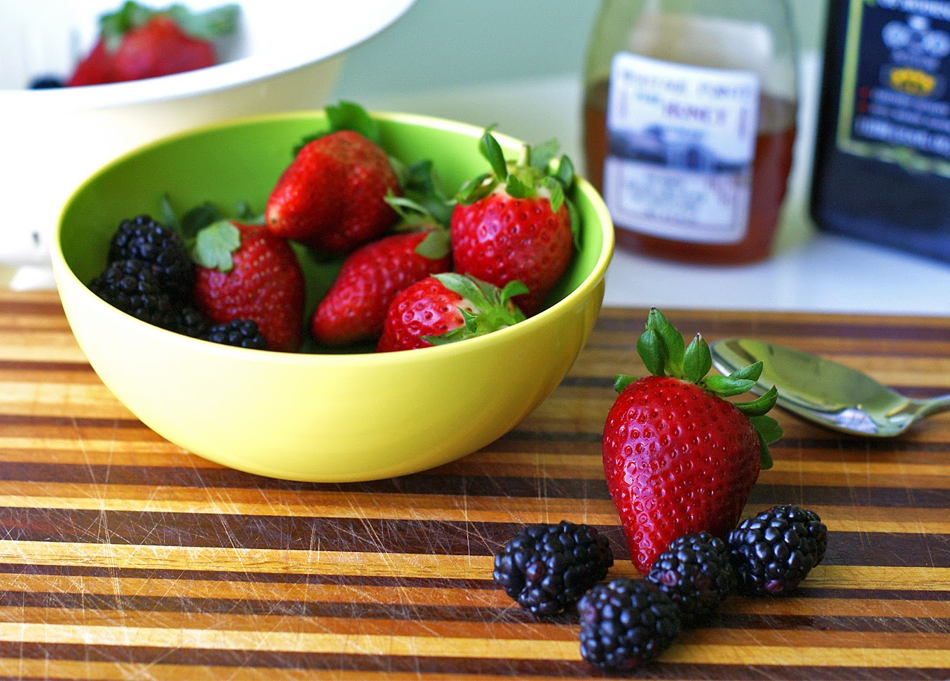 Strawberry-Blackberry Spinach Salad with Honey Balsamic Vinaigrette from Goodlicious
