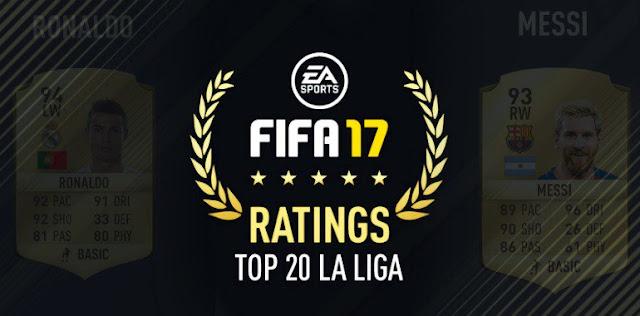 Os 20 melhores jogadores de La Liga no FIFA  17