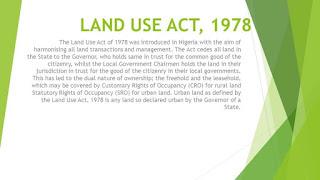 Land Use Act 1979
