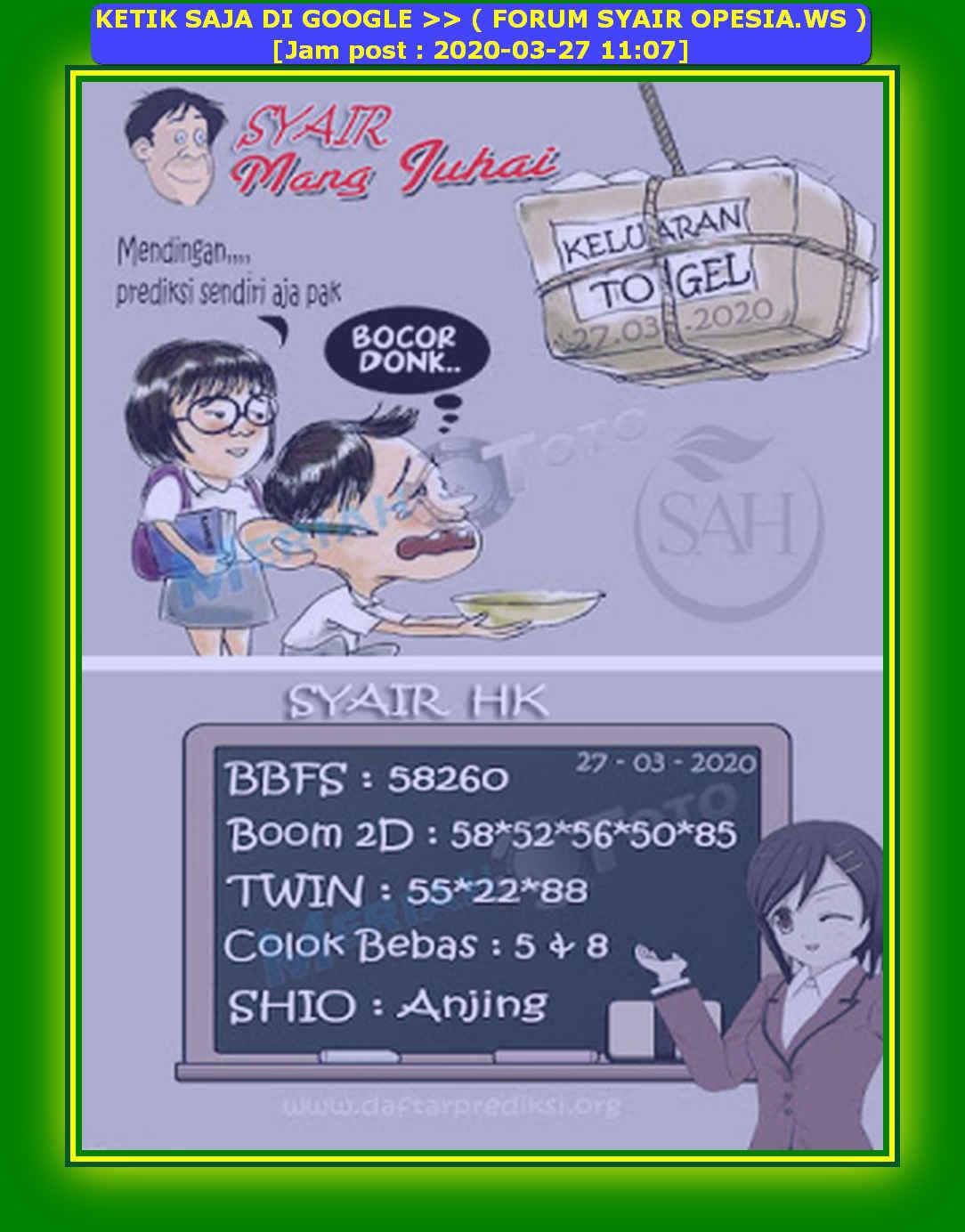 Kode syair Hongkong Jumat 27 Maret 2020 145