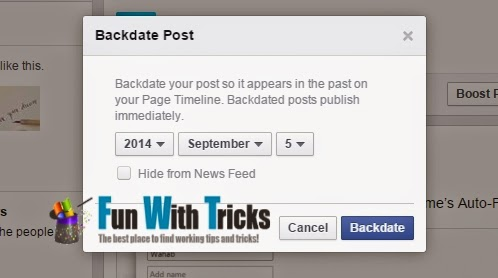 New feature introduced by Facebook - Backdate Posts