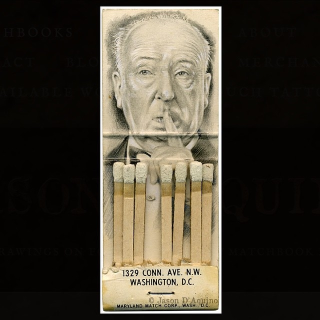 06-Alfred-Hitchcock-Jason-D-Aquino-Miniature-Vintage-Match-Book-Drawings-www-designstack-co