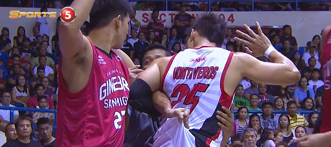 Dondon Hontiveros & Jervy Cruz Altercation - Ginebra vs. Alaska (VIDEO)