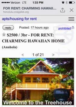 Craigslist For Apts Housing For Rent In Honolulu Hi ...