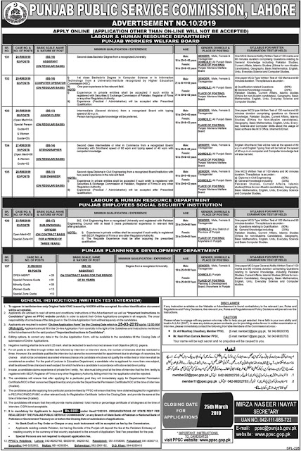 PPSC Latest Jobs 10 March 2019 | Advertisement No 10/2019 | Online Registration