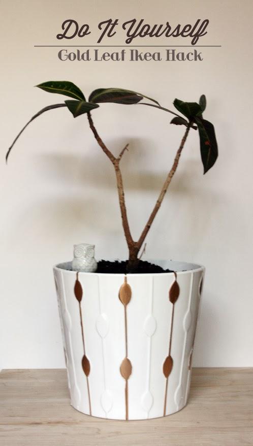 do it yourself gold leaf flower pot and ikea hack erika lee sears. Black Bedroom Furniture Sets. Home Design Ideas