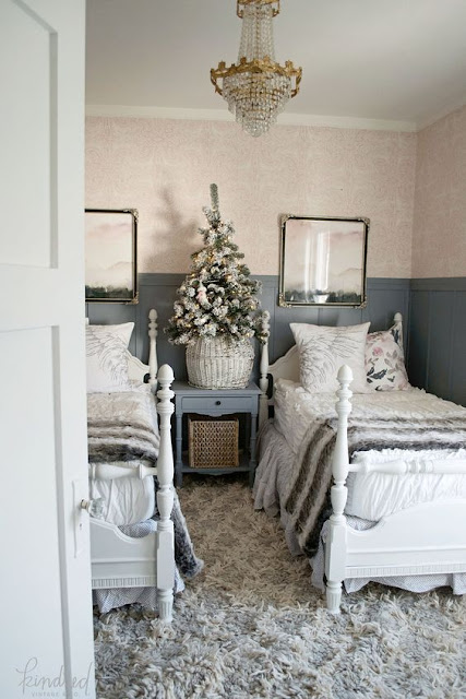 Bedroom with romantic Farmhouse Christmas holiday decorating shabby chic
